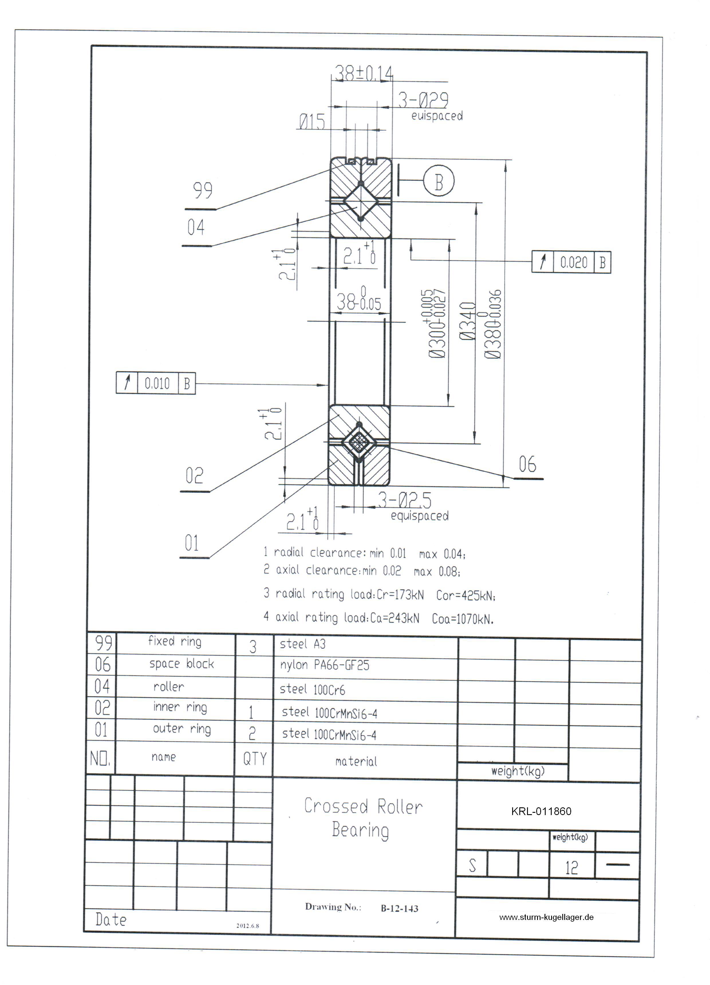 kreuzrollenlager krl 011860 krl 0118 unverzahnt. Black Bedroom Furniture Sets. Home Design Ideas