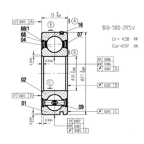 Rillenkugellager B10-50D-NP