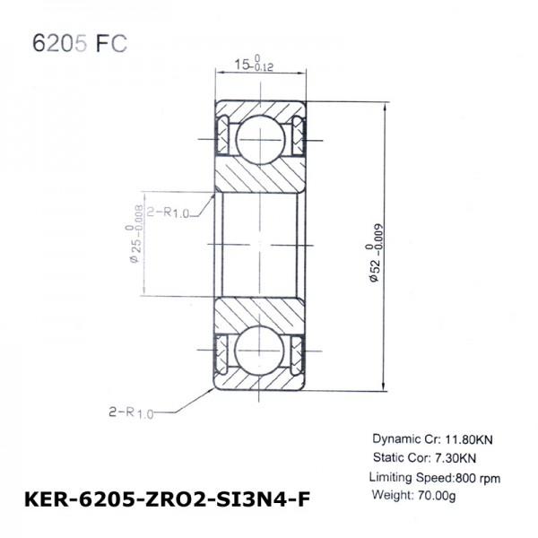 Keramik-Rillenkugellager 6205-KER-ZRO2-Si3N4-F ( Kugellager aus Keramik CER6205FC )