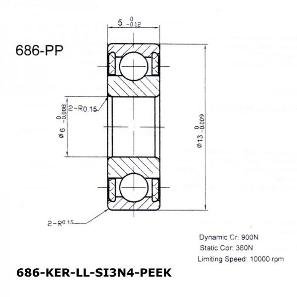 Keramik-Rillenkugellager 686-KER-LL-SI3N4-PEEK