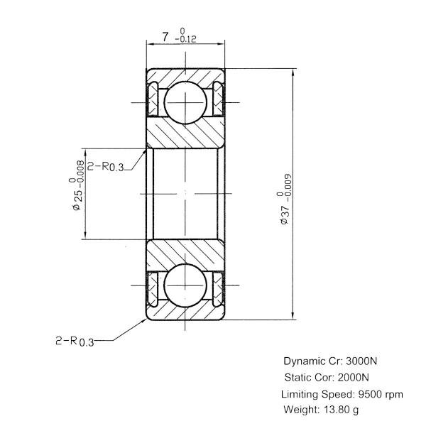 Keramik-Rillenkugellager 61805-KER-ZRO2 ( Kugellager aus Keramik CER61805 )
