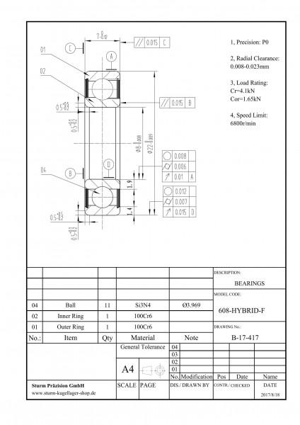 Hybrid-Rillenkugellager 608-HYBRID-F