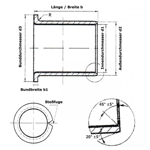 Gleitlager-Bundbuchse PAF-08075-P10 / BB-0808-DU / EGF08075E40 / BB0808DU / TFF0808 / KF08075SF1 / G