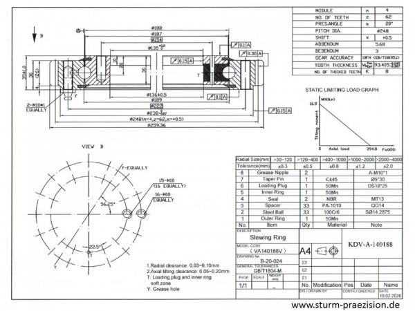 Vierpunktlager KDV-OS-200414 ( Drehverbindung VSU 200414 )