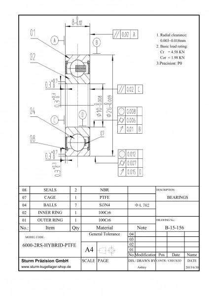 Hybrid-Rillenkugellager 6000-2RS-HYBRID-PTFE