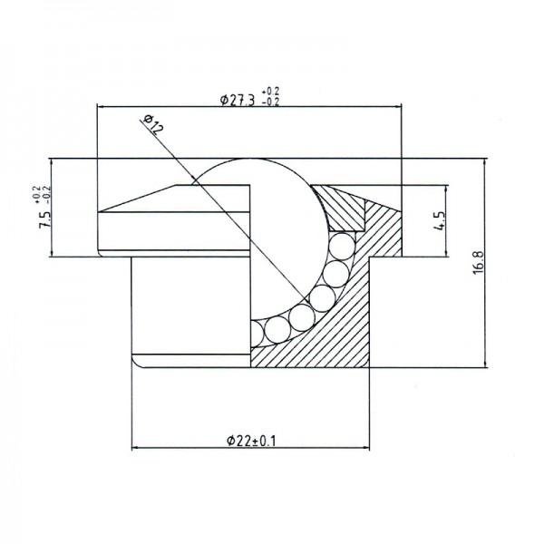 Niro-Kugelrolle KSM-12-C-BU-NI ( Kugelrolle Edelstahl )