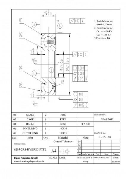 Hybrid-Rillenkugellager 6205-2RS-HYBRID-PTFE