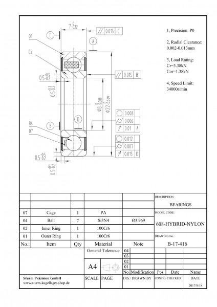 Hybrid-Rillenkugellager 608-HYBRID-NYLON