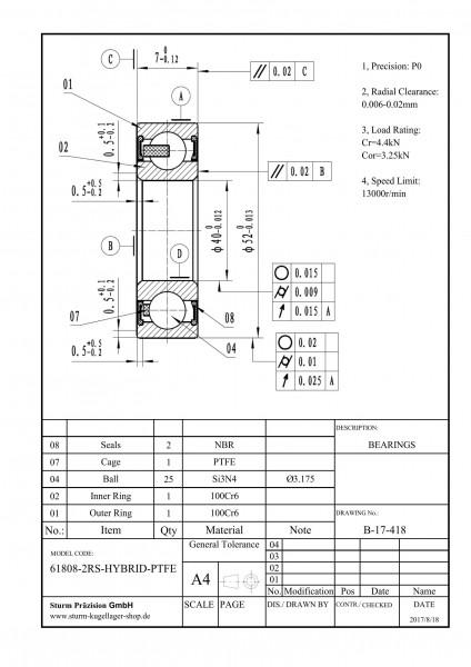 Hybrid-Rillenkugellager 61808-2RS-HYBRID-PTFE ( HY6808 2RS, HYB 61808-2RS1, 6808-2RS HYB )