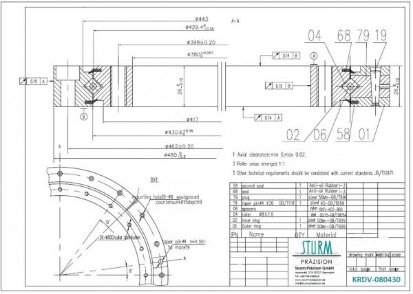 Kreuzrollenlager KRDV-080430 ( Drehverbindung XU 080430 )
