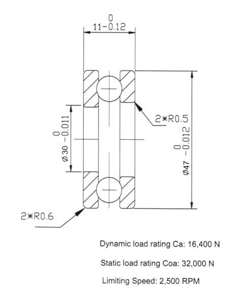 Keramik-Axial-Rillenkugellager 51106-KER-ZRO2