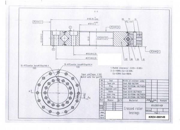 Kreuzrollenlager KRDV-080149 ( Drehverbindung XU 080149 )
