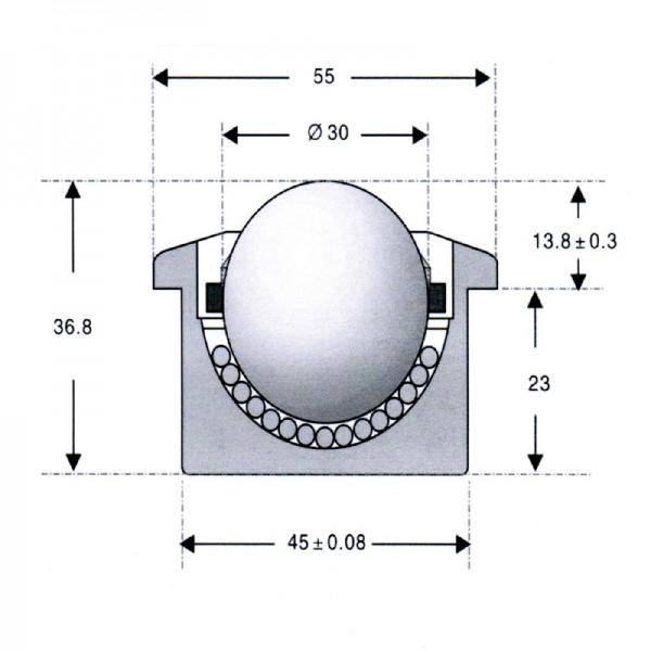 Niro-Kugelrolle KSM-30-C-BU-NI-NYLON ( Edelstahl Kugelrolle )