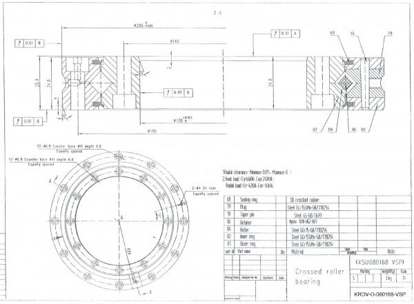 Kreuzrollenlager KRDV-O-080168-VSP / XSU-080168 / XSU 080168 / XSU080168