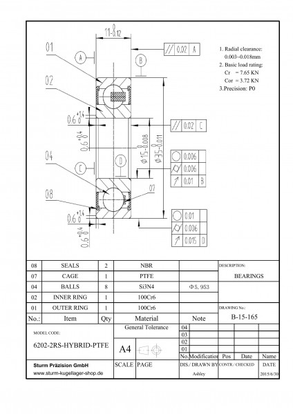 Hybrid-Rillenkugellager 6202-2RS-HYBRID-PTFE