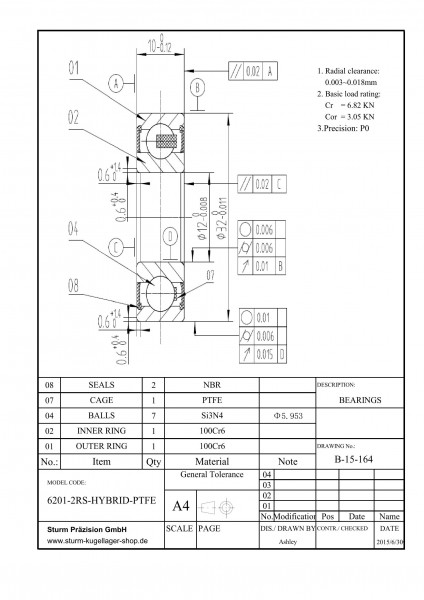 Hybrid-Rillenkugellager 6201-2RS-HYBRID-PTFE