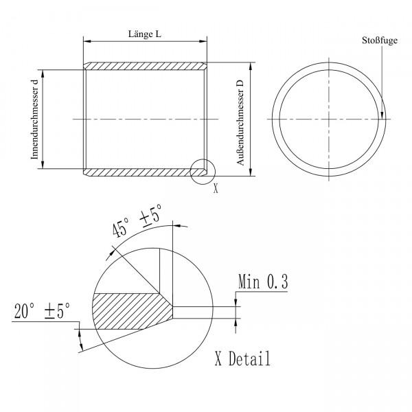 Gleitlager-Buchse PAP-2825-P10 ( EGB2825E40, 2825DU, MB2825DU, TFP2825, GLY283225PG F, PAP 2825 P14)