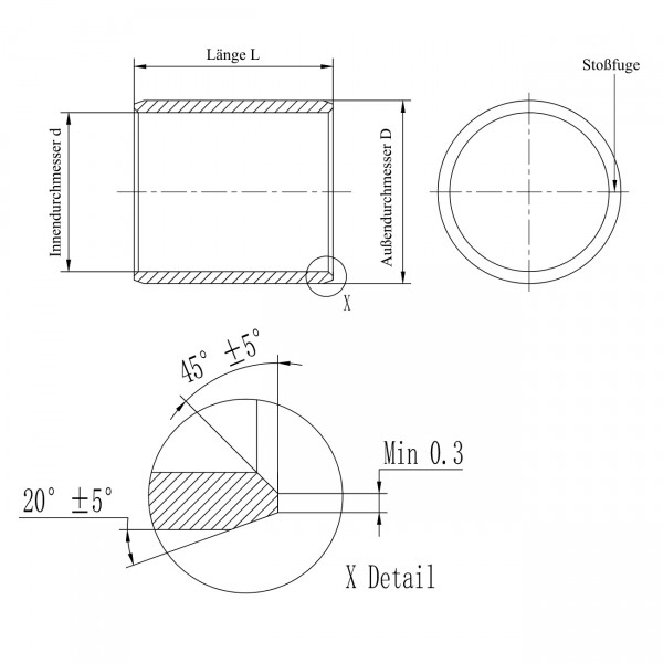 Gleitlager-Buchse PAP-0306-P10 / EGB0306E40 / 0306DU / MB0306DU / 0306 DU / TFP0306 / KU
