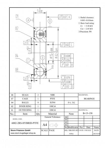 Hybrid-Rillenkugellager 6002-2RS-HYBRID-PTFE