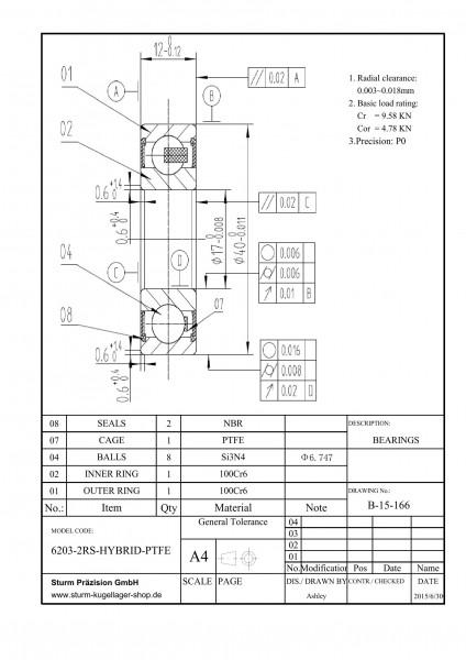 Hybrid-Rillenkugellager 6203-2RS-HYBRID-PTFE