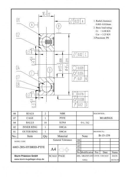 Hybrid-Rillenkugellager 6003-2RS-HYBRID-PTFE / HY6003 2RS / HYB 6003-2RS / 6003-2RS HYB