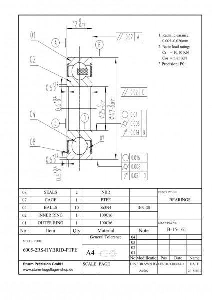 Hybrid-Rillenkugellager 6005-2RS-HYBRID-PTFE