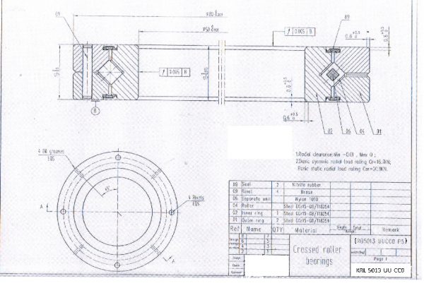 Kreuzrollenlager KRL-5013-UU-CC0 ( Drehverbindung RB 5013 UU CC0 )