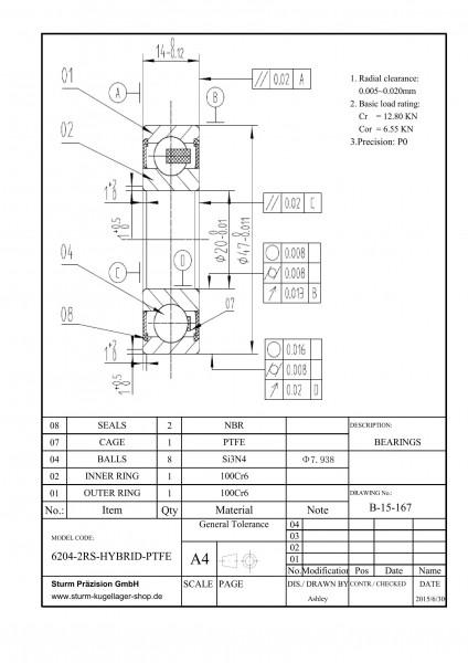Hybrid-Rillenkugellager 6204-2RS-HYBRID-PTFE