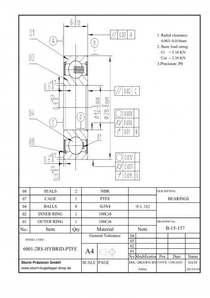 Hybrid-Rillenkugellager 6001-2RS-HYBRID-PTFE