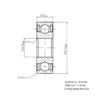 Keramik-Rillenkugellager 6207-KER-LL-SI3N4-PEEK ( Kugellager aus Keramik CER6207PP )