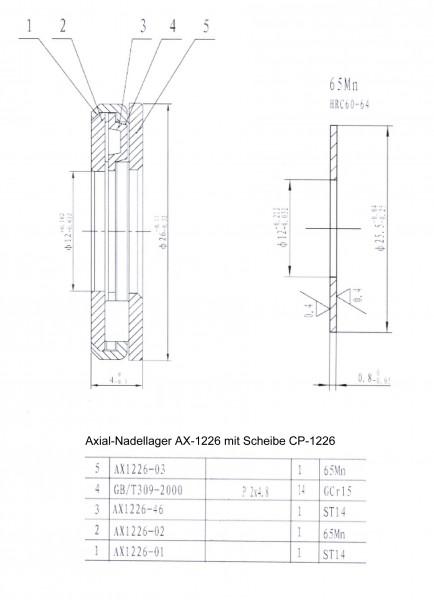 Axial-Nadellager AX-1226 mit Scheibe CP-1226