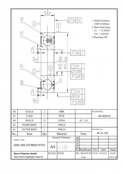 Hybrid-Rillenkugellager 6006-2RS-HYBRID-PTFE / HY6006 2RS / HYB 6006-2RS / 6006-2RS HYB