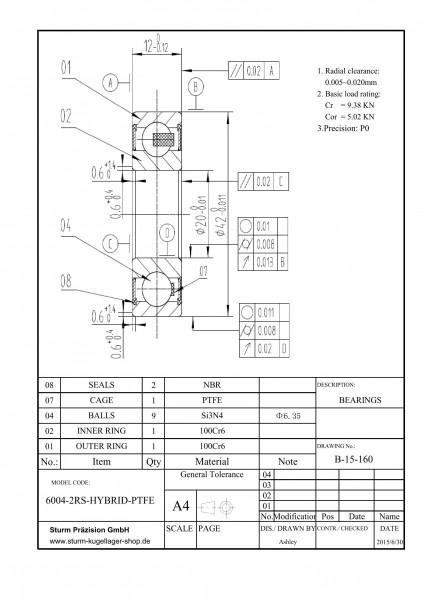 Hybrid-Rillenkugellager 6004-2RS-HYBRID-PTFE ( HY6004 2RS, HYB 6004-2RS, 6004-2RS HYB )